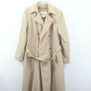 Vintage 80s Orvis Belted Trench Coat Jacket 12 Tan